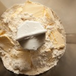 Flour and margarine in blender before mixing