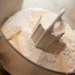Flour, salt, sugar, and margarine in blender