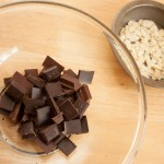 Chocolate and flaked almonds