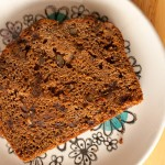 Slice of Date and Walnut Gingerbread Cake on a plate