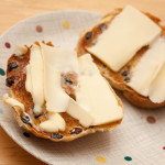 Toasted Yorkshire Teacake halves with butter.